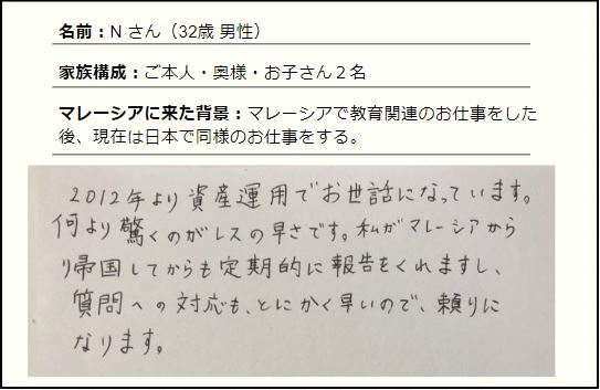日本へ帰国後も定期的なサポートと素早い対応が行われる
